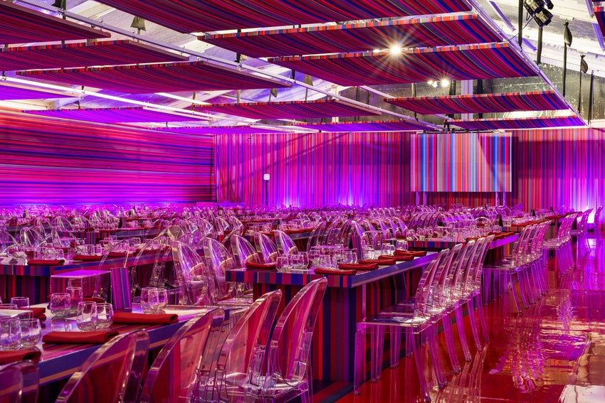 A tent covered in custom stripes from floor to wall to ceiling at the Museum of Contemporary Art Chicago for the 2015 Art Auction.