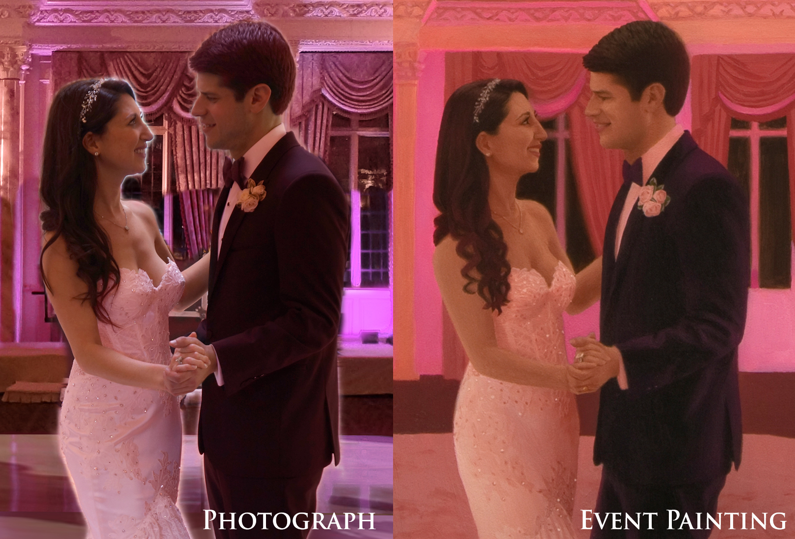 Painting Of A Pretty In Pink New Jersey Wedding Reception - Live Event Painter Anthony Galati