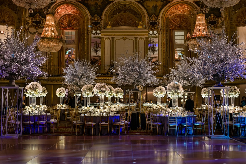 Silver, gold and ivory centerpieces at the Lyric Opera Gala at the Hilton Chicago.