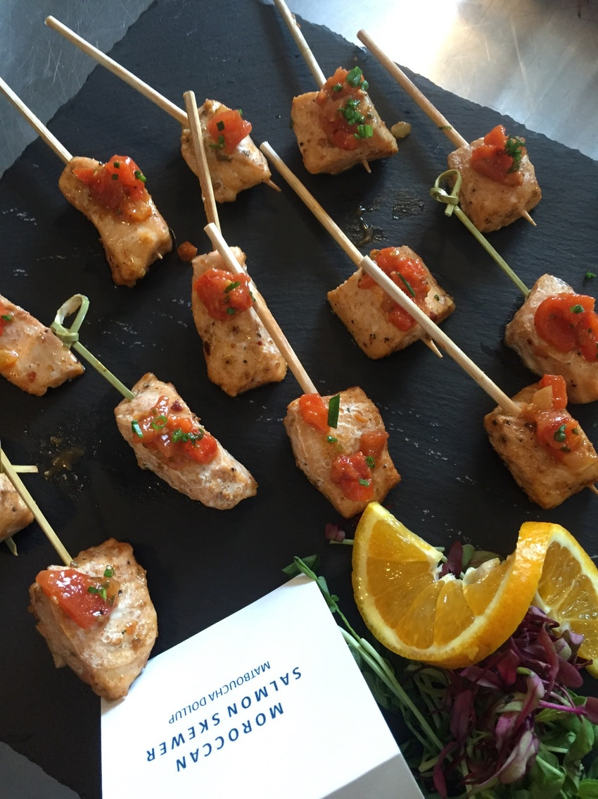 Moroccan Salmon Skewer Matboucha Dollup