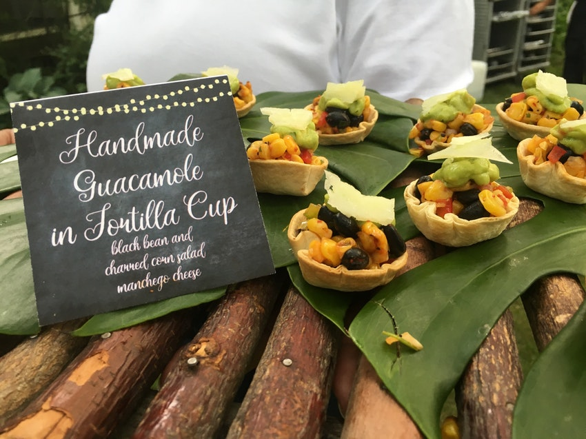 Handmade Guacamole in Tortilla Cup Black Bean and Charred Corn Salad Manchego Cheese
