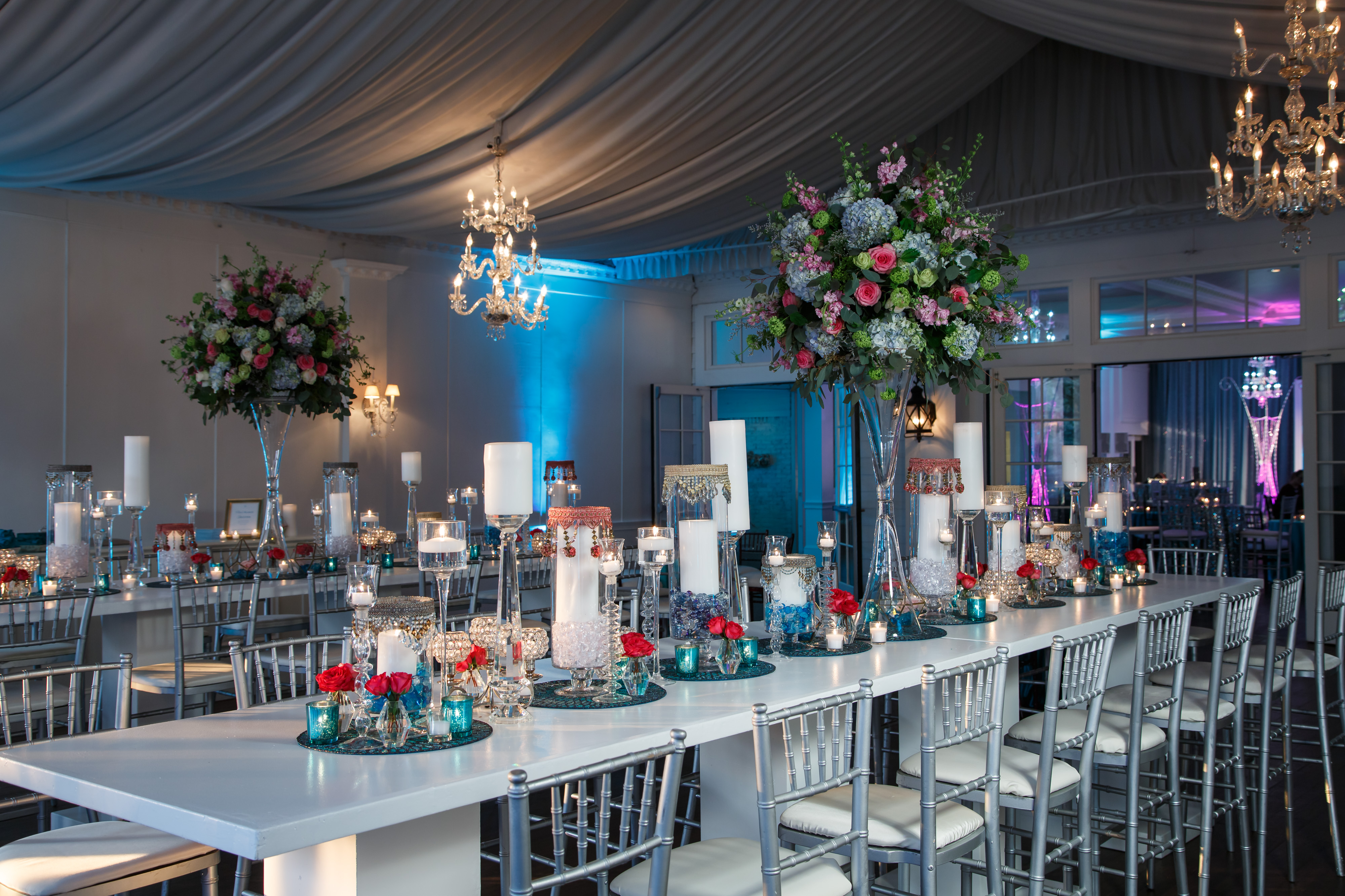 Tablescape with tall centerpiece