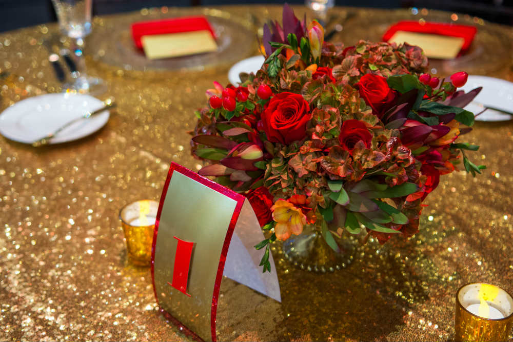 Gold Sequin with Red Roses - Event Lab