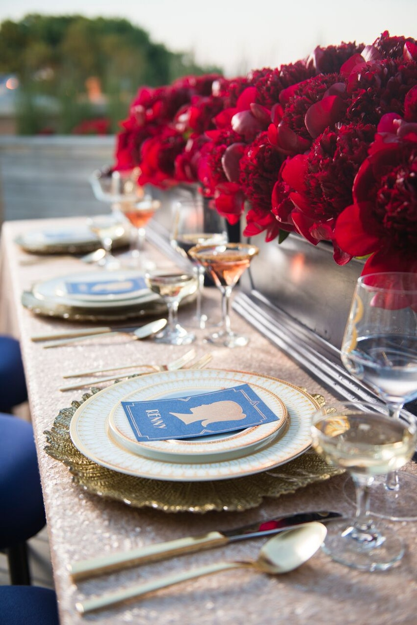 Glamorous red white and blue table setting.