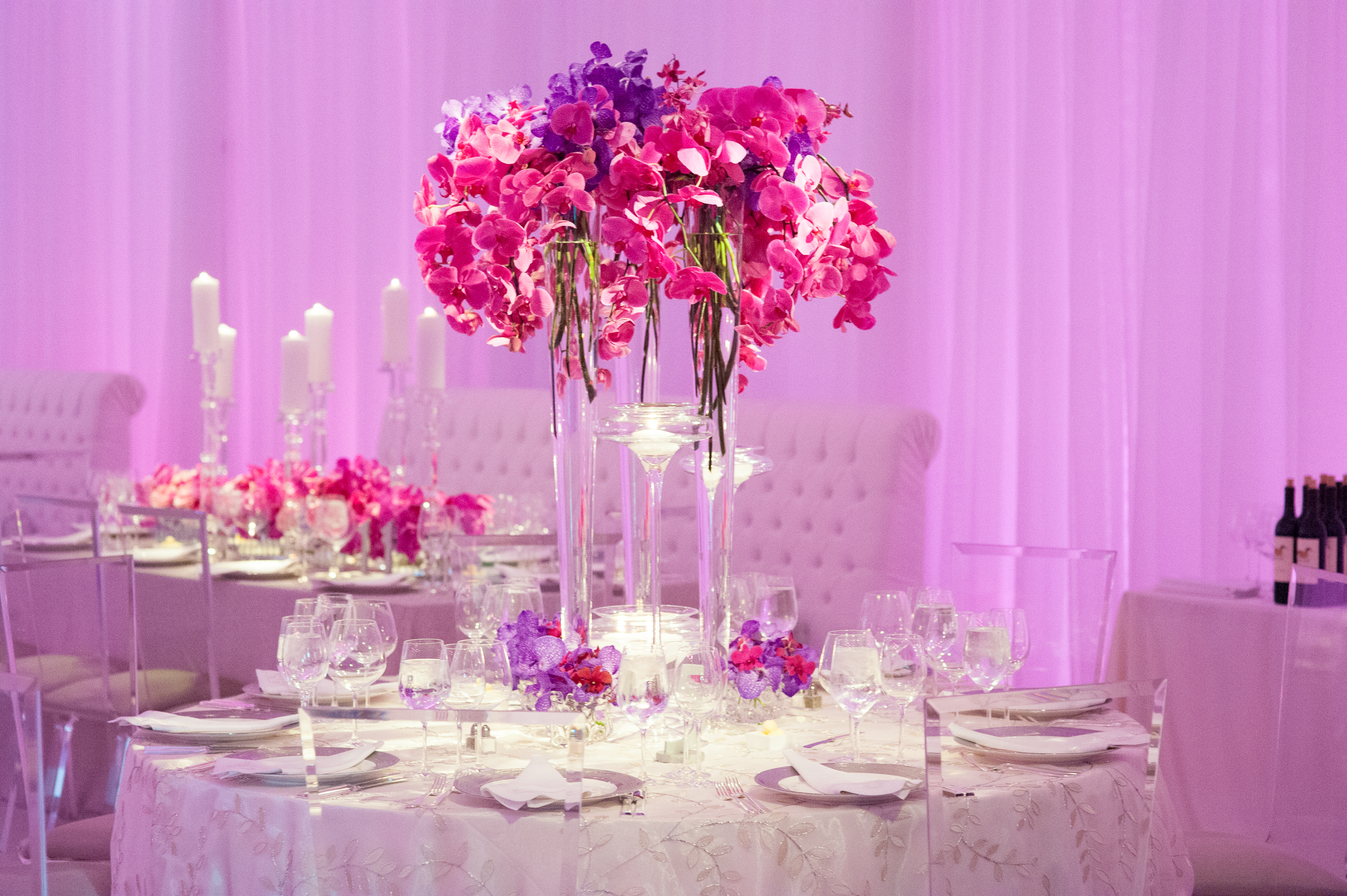 Pretty In Pink-Tented Wedding - Suzanne B. Lowell Lighting Design