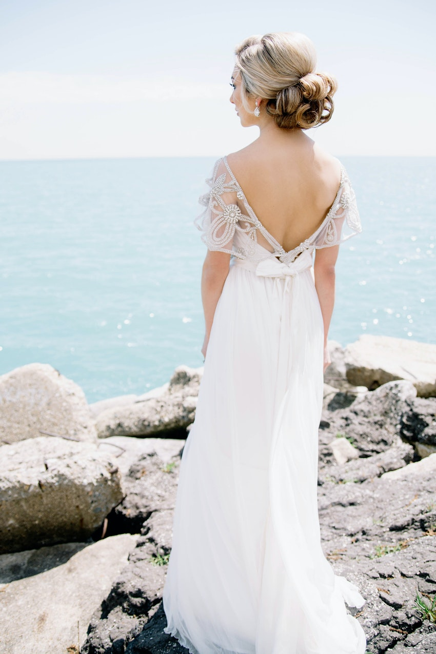 Bride in a vintage-inspired dress.