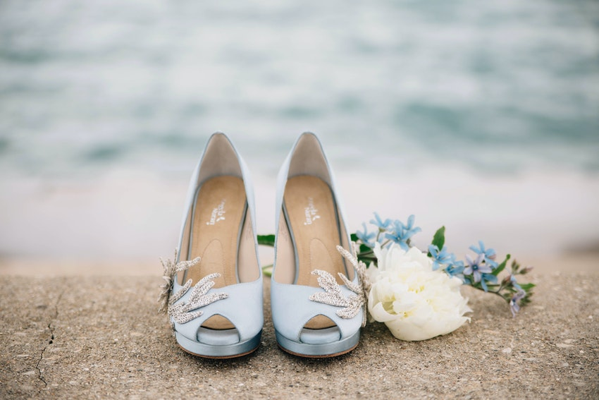 Sky blue color Anna Nuran bridal shoes made of luxe Italian silk with Swarovski crystal embellishments.