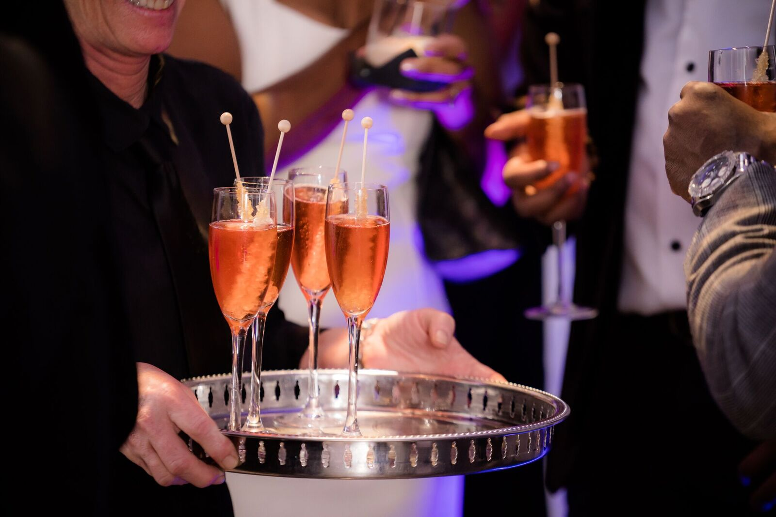 Champagne and Rock Candy for a black tie event