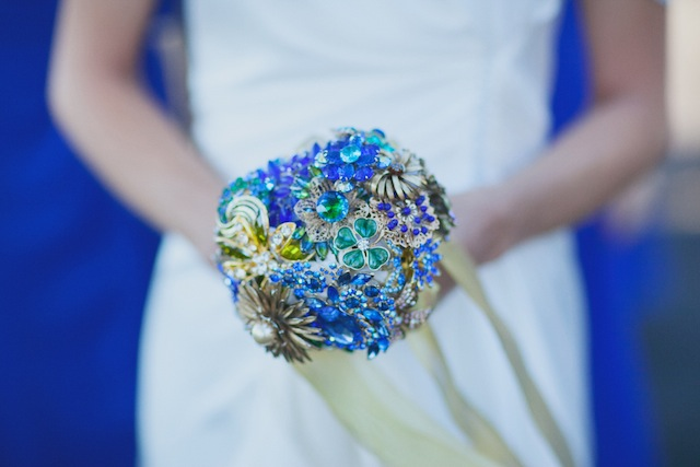 The bride carried a sparkling brooch bouquet handmade from Svarovski crystals