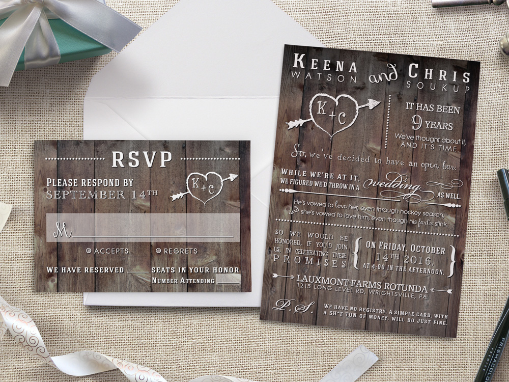 rustic barn wood wedding invitation suite featuring a typography based design in white