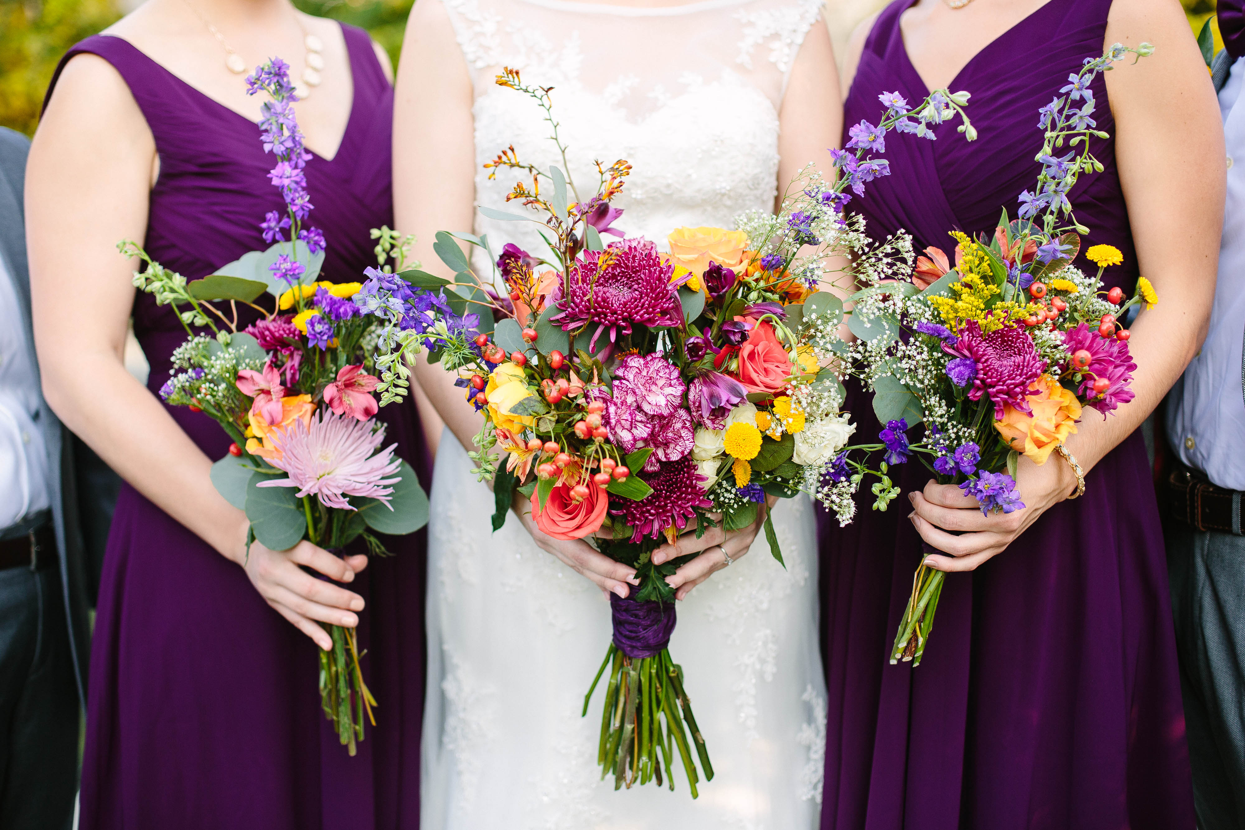 fall flowers, purple dresses, florals by Once Events