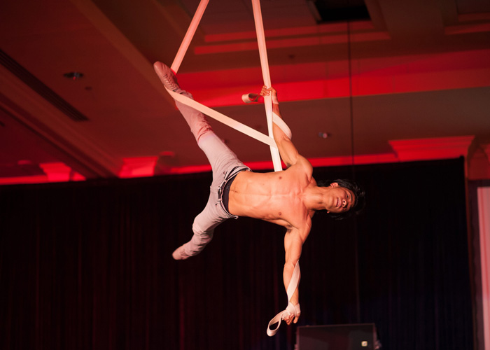 An acrobat on aerial straps stuns guests at an Advocate Healthcare benefit.
