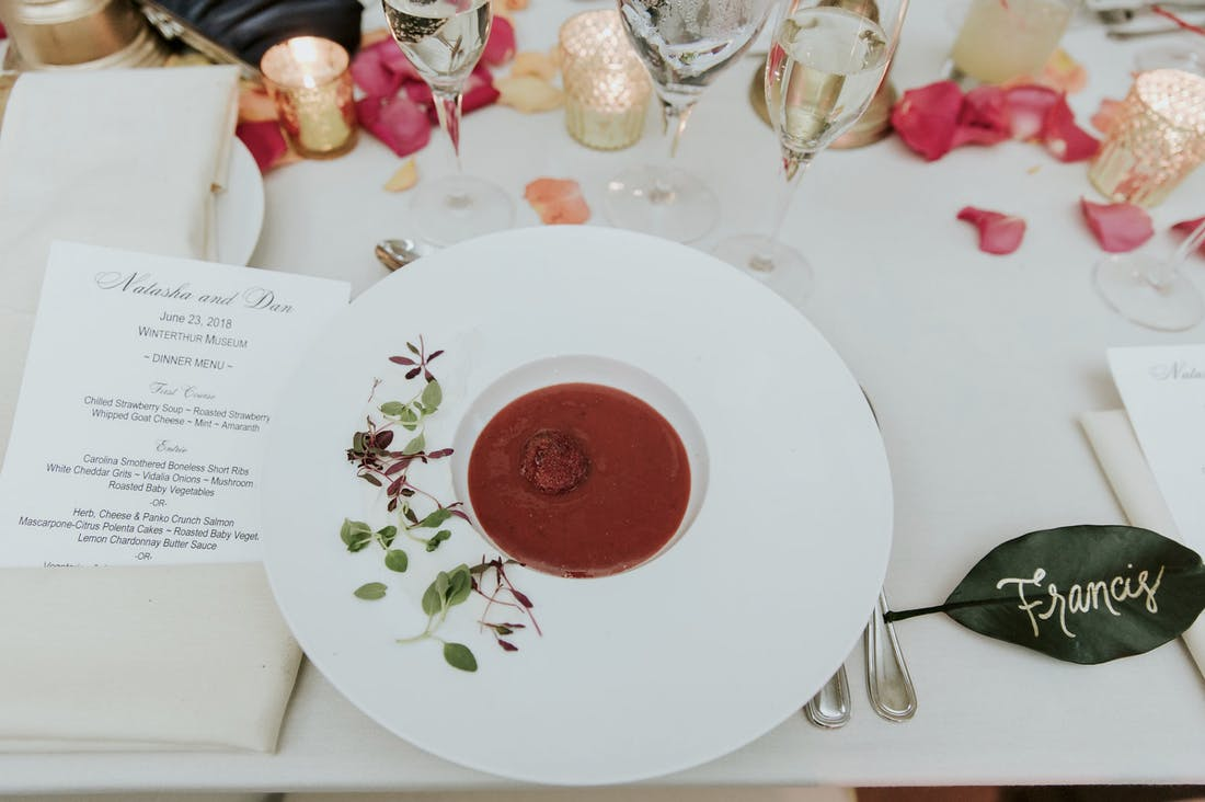 eco-conscious catering strawberry soup on white table