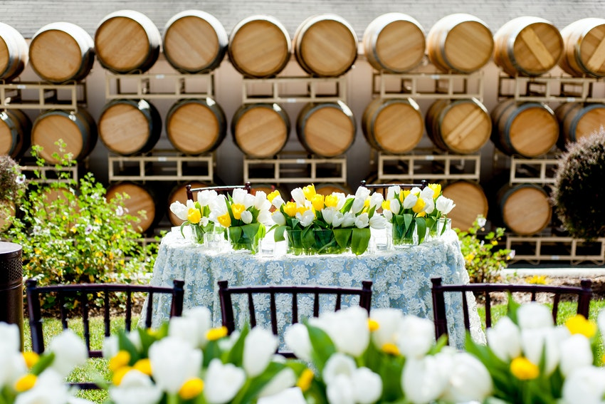 Wedding Reception at B.R. Cohn Winery- Sweetheart Table. Event Planning by Anaïs Event Planning & Design.