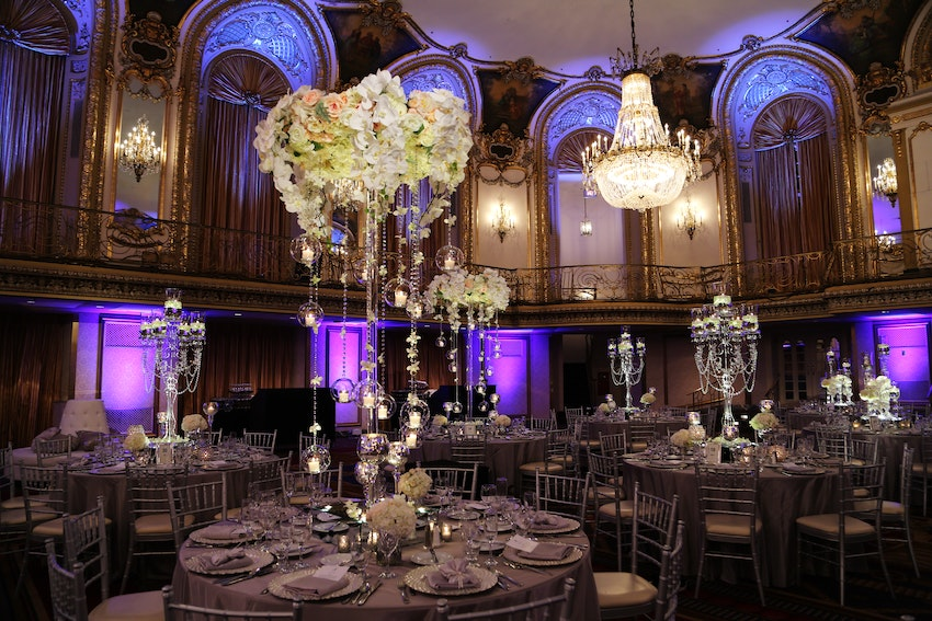 The centerpiece selections made the ballroom glow with their exquisite modern design and colored spotlights.