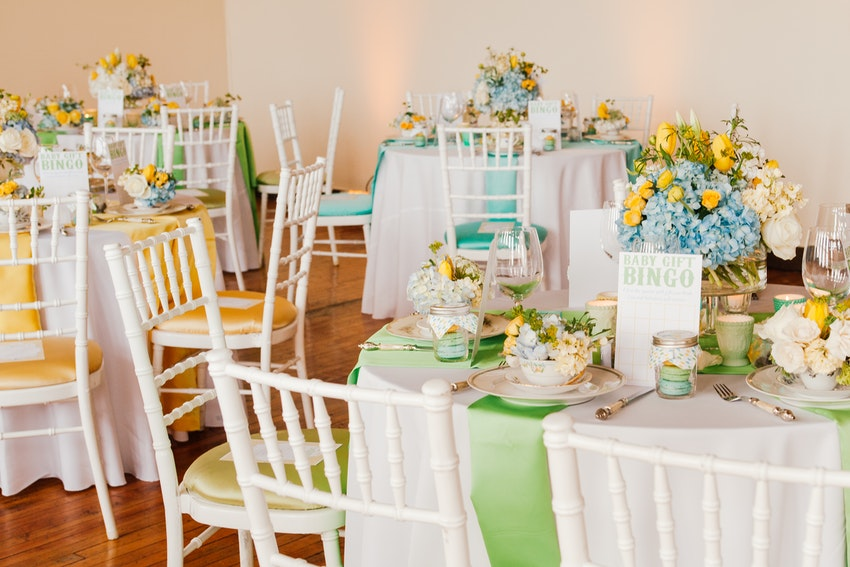 Lovely tables for a baby shower, by Christine Janda.