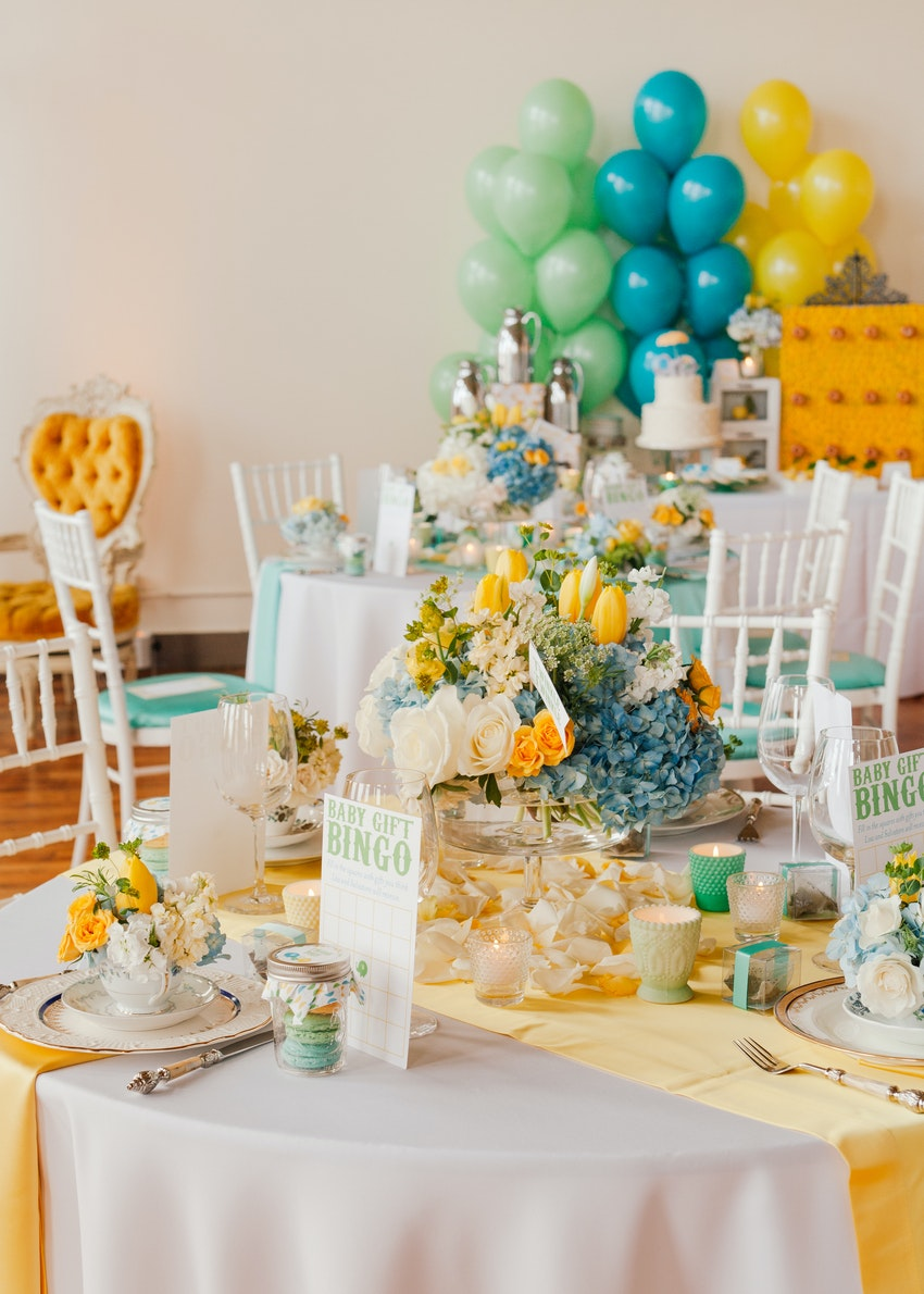 Beautiful dining tables designed by Christine Janda for a baby shower luncheon.