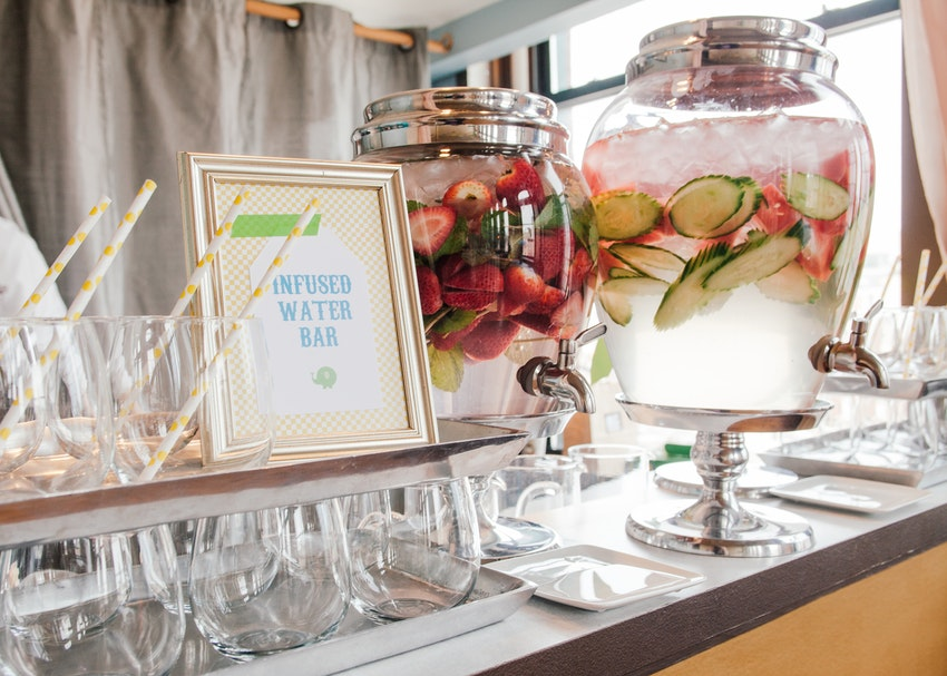 Infused water bar for baby shower.