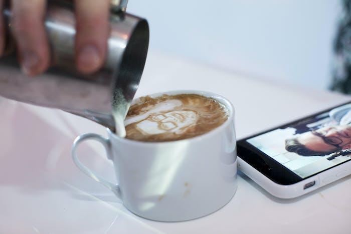 latte art of a man