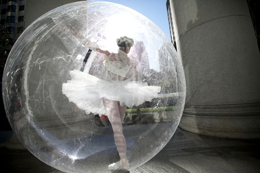 Our ballerina in a bubble to welcome guests
