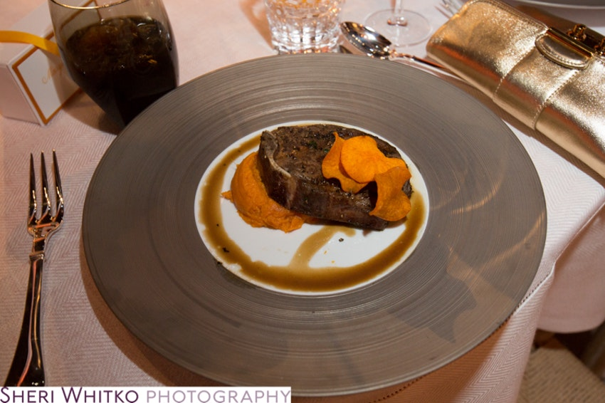 Guests enjoyed a filet of steak paired with a sweet potato for dinner.