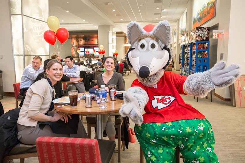 KC Chiefs mascot visiting a corporate event in Kansas City