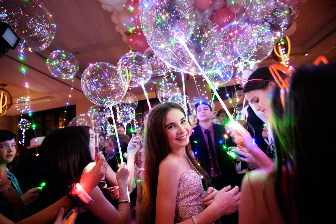 iridescent balloons at bat mitzvah celebration