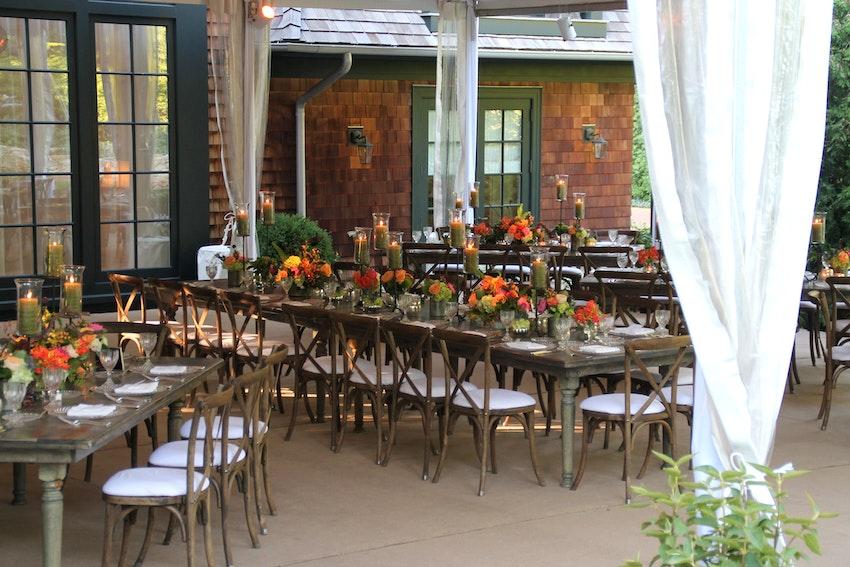 Outdoor, garden, birthday dinner.