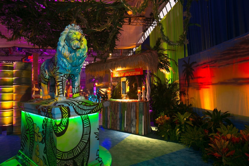 A dramatic lion greeted guests as they entered this Jamaican themed Bar Mitzvah.