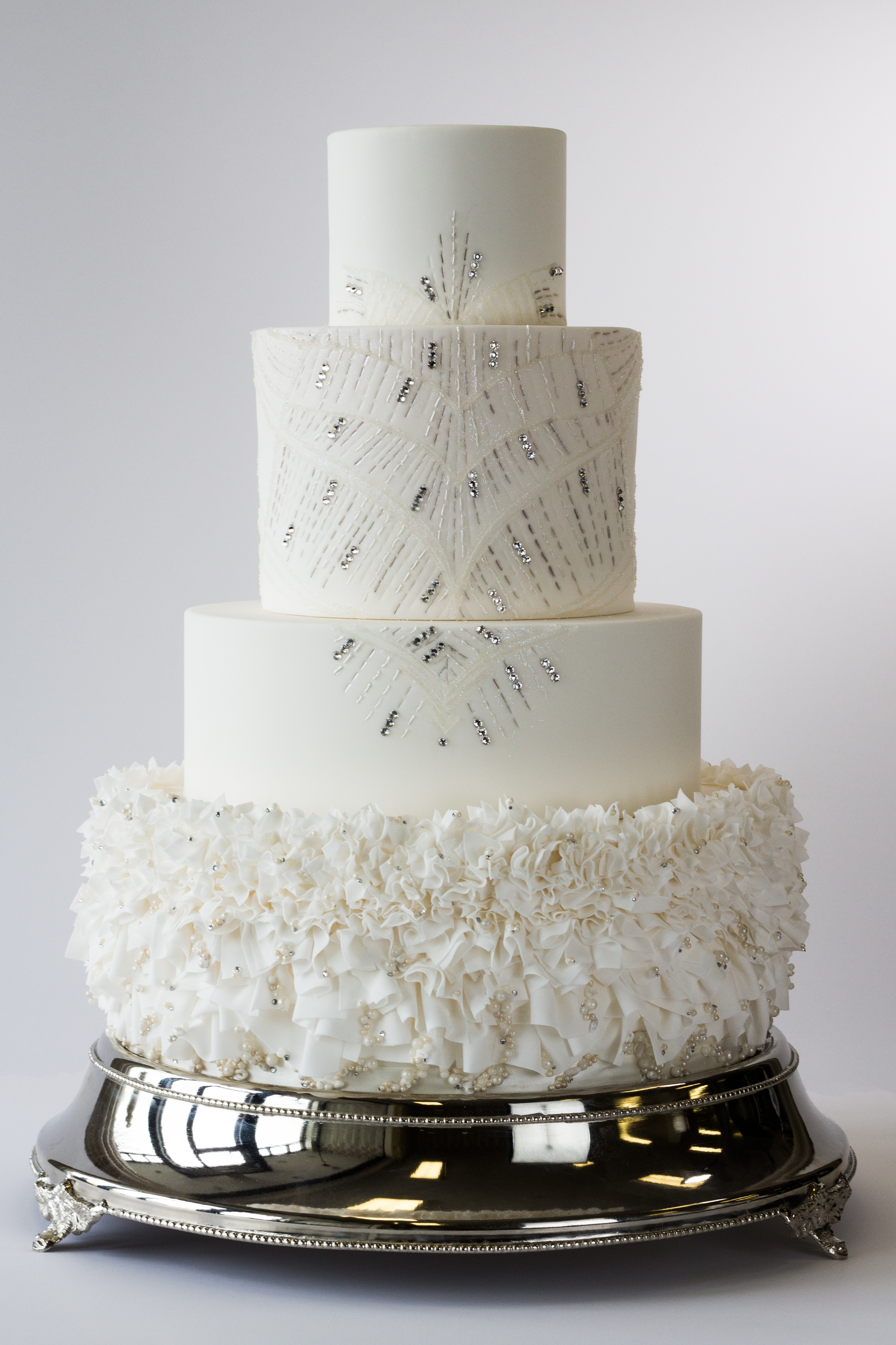 Couture wedding cake inspired by a Jenny Packham bridal gown