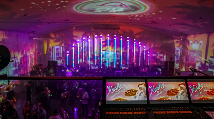 Ke$ha performs with pink projection mapping