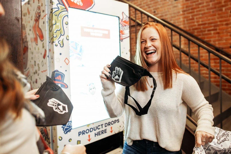 adidas social media game dispenses vending machine prizes