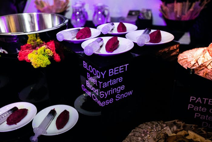 Catering table featuring Bloody Beet / Beet Tartare / Blood Syringe / Goat Cheese Snow