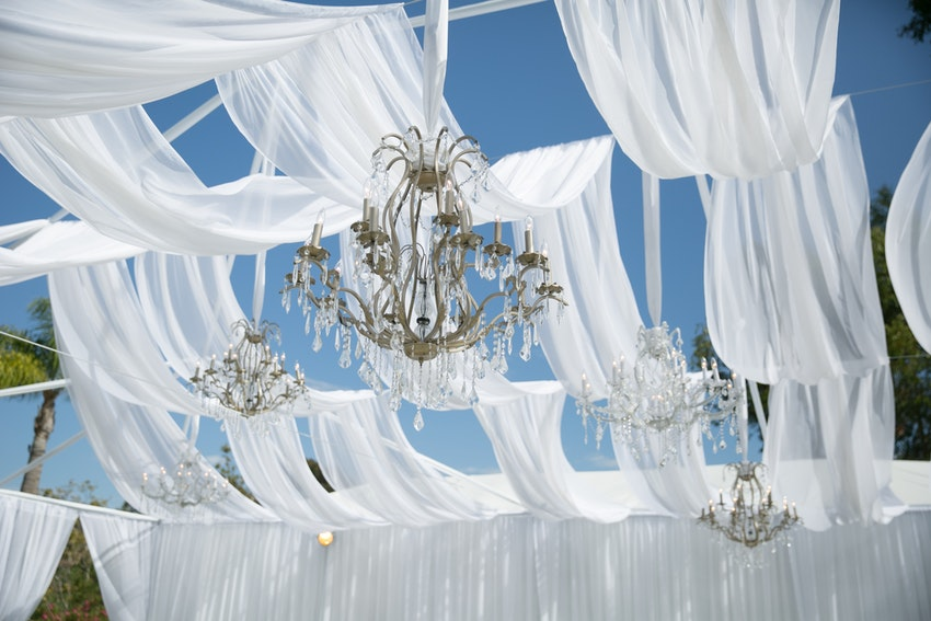Chandeliers swaying in the wind