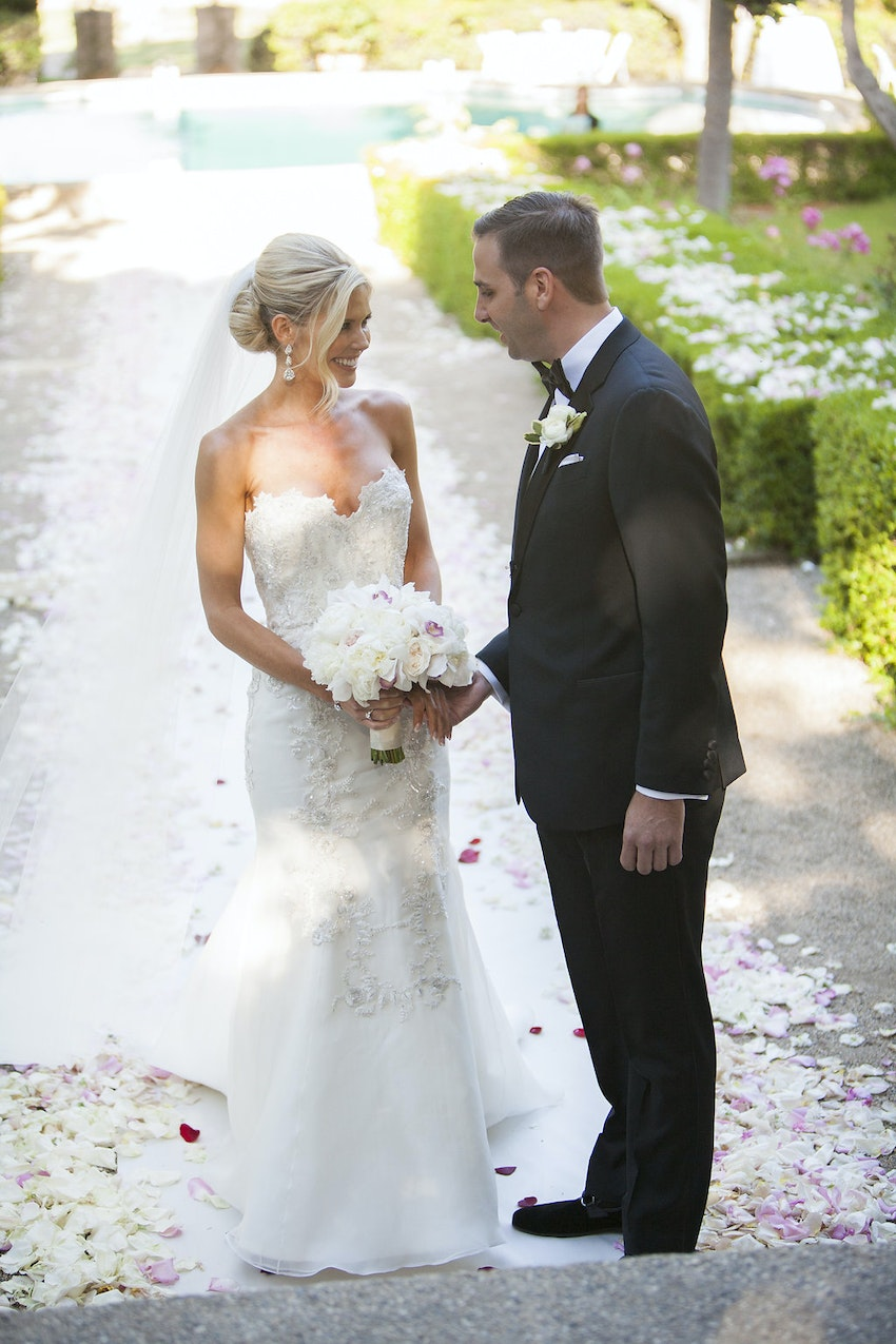 Greeting bride at end of aisle
