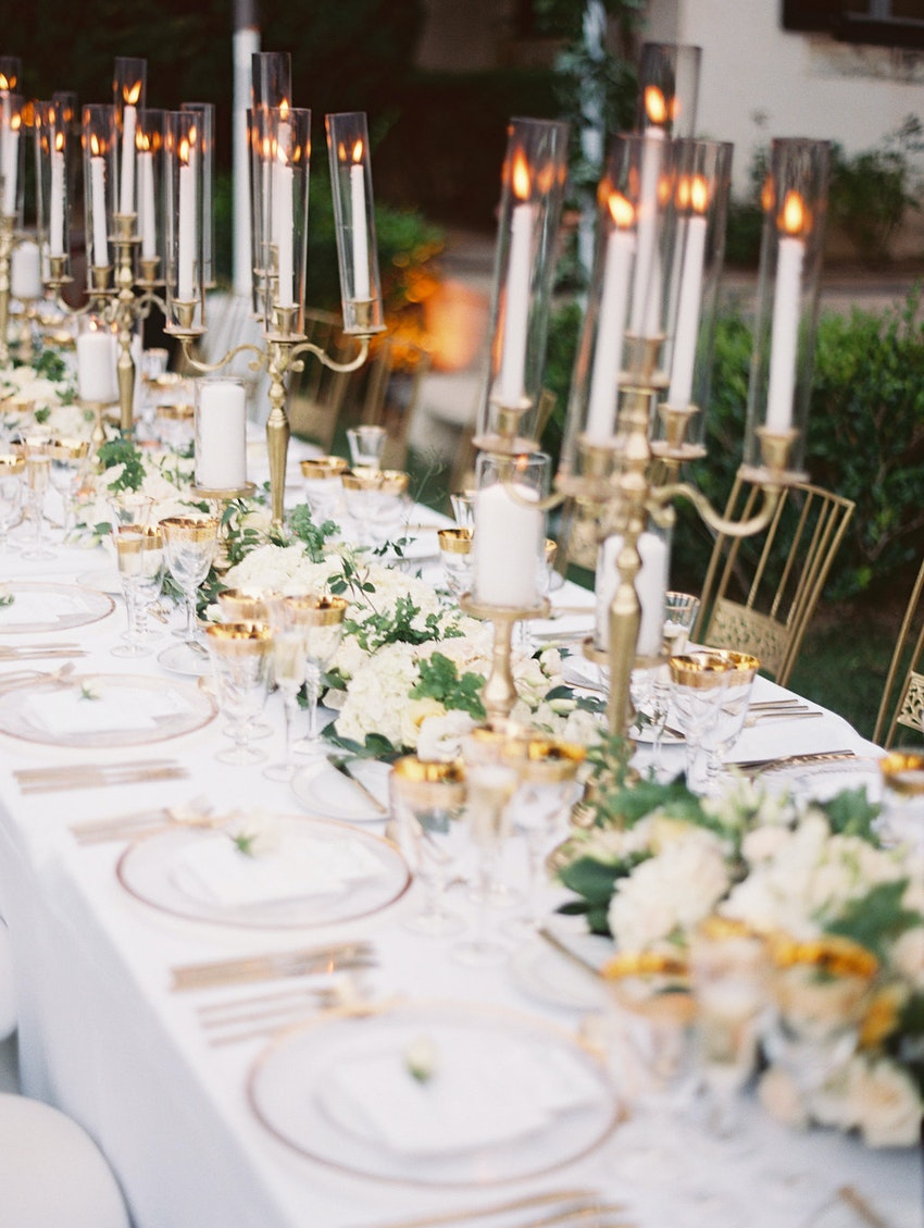 Garden reception, intimate dinner by candlelight