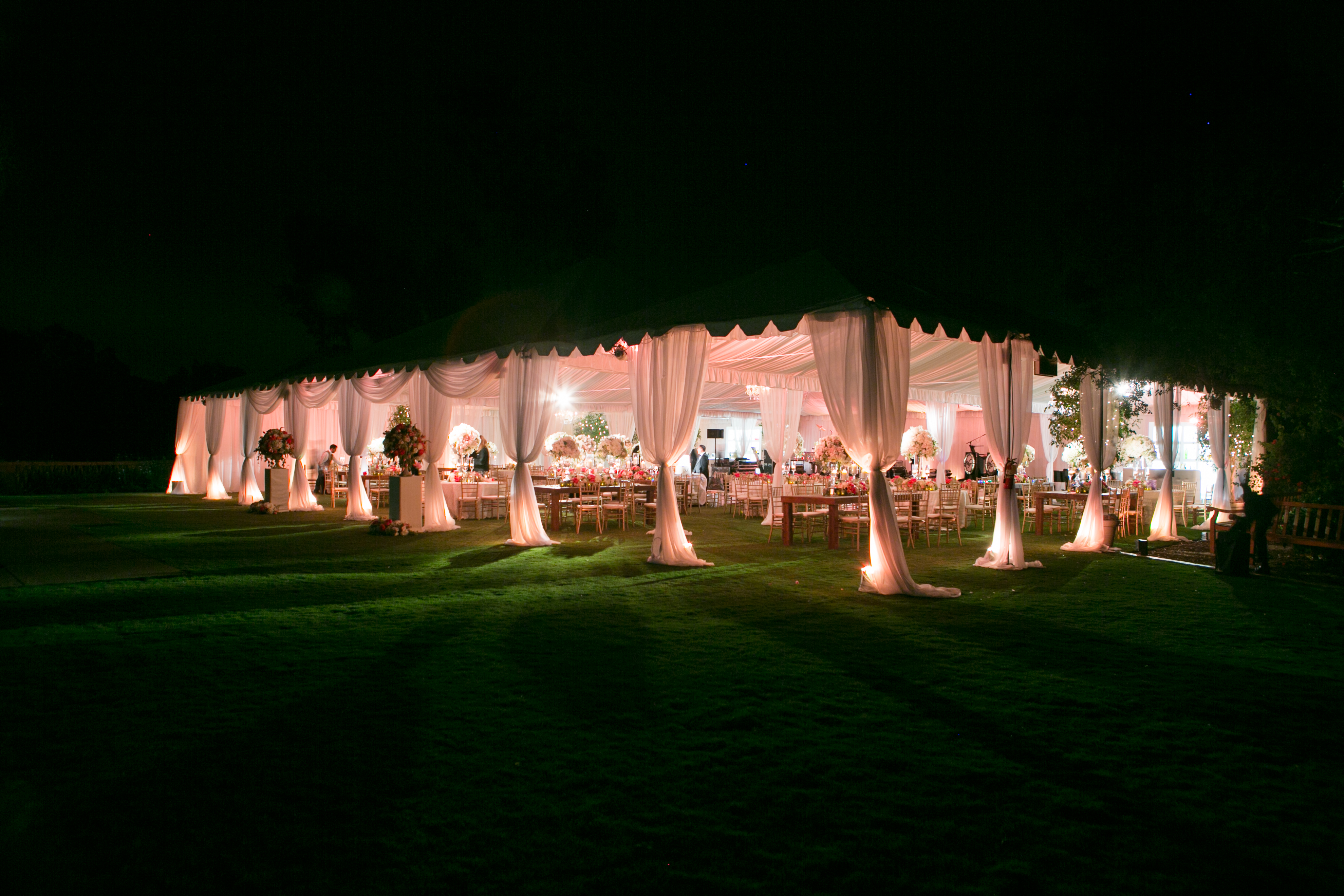 our 10,000 sq ft tent lit up t night
