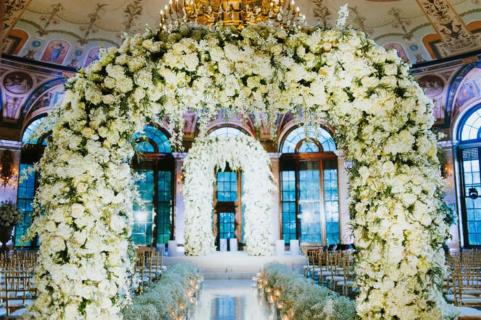 white floral archway
