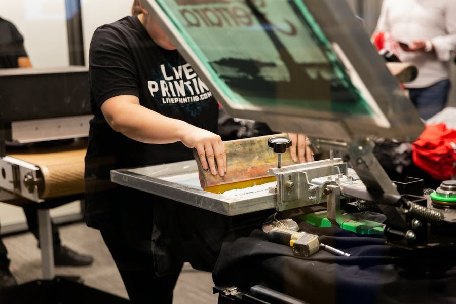 on-site tee shirt printing at an event