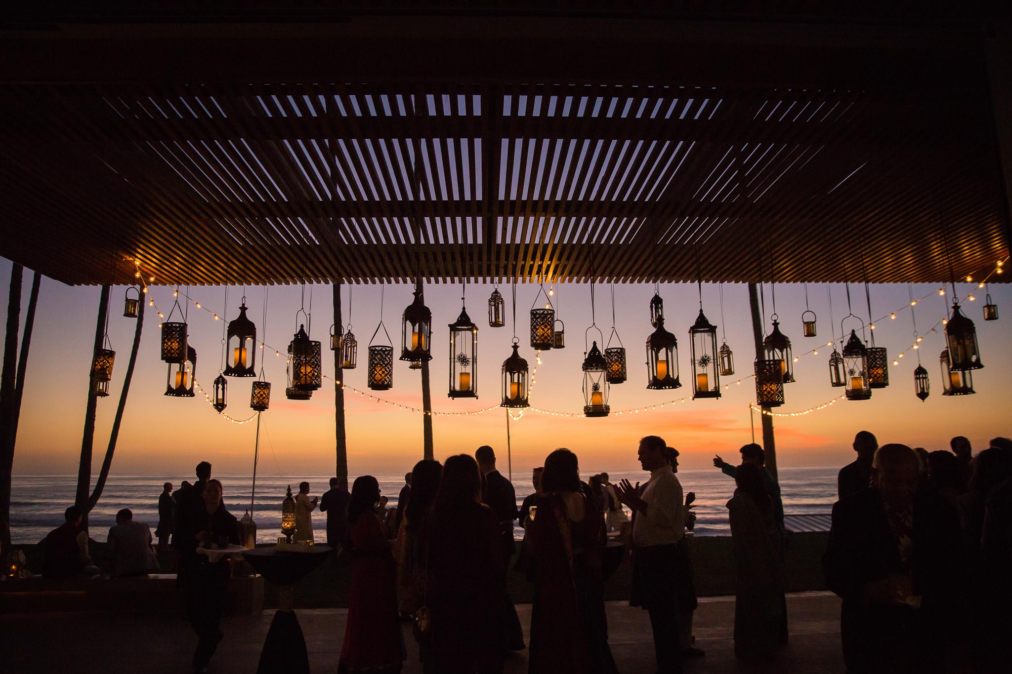 Beautiful sunset with hanging lanterns