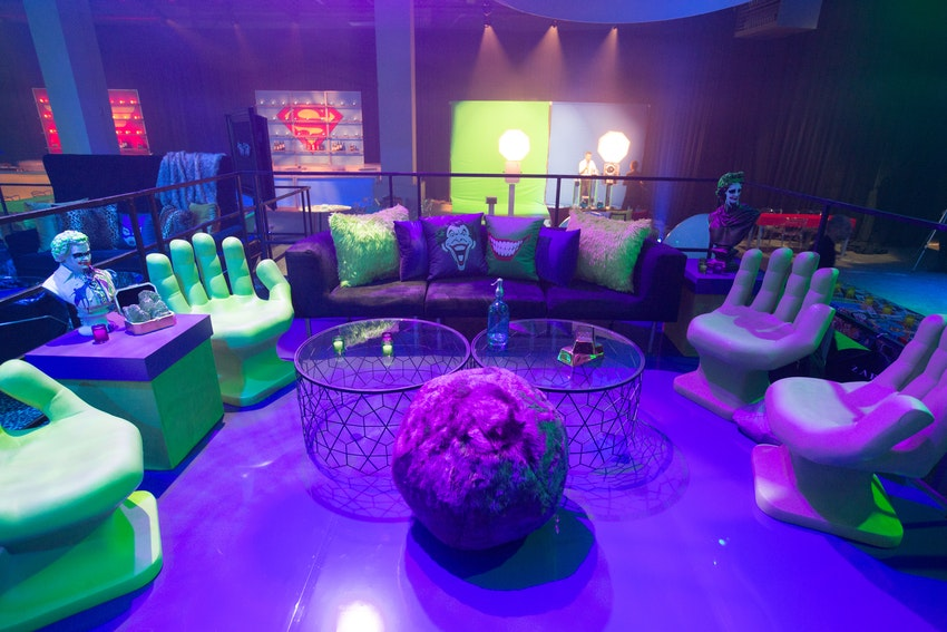 This Joker lounge was specifically designed to be as colorful as the Joker's personality.