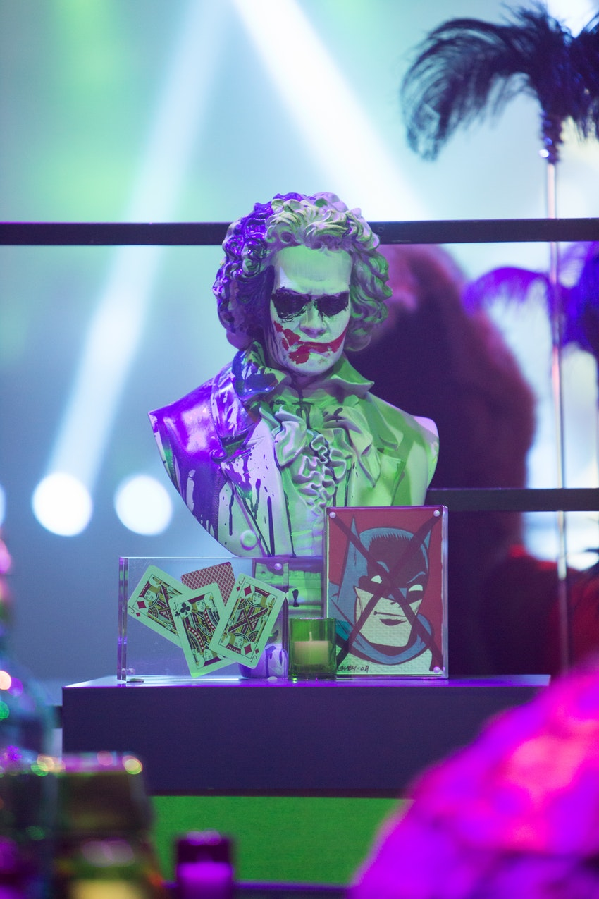 This Joker statue is one of the many small detailed elements that were placed throughout the space to make sure that the superhero vs. villain theme was not lost in any aspect of the room.