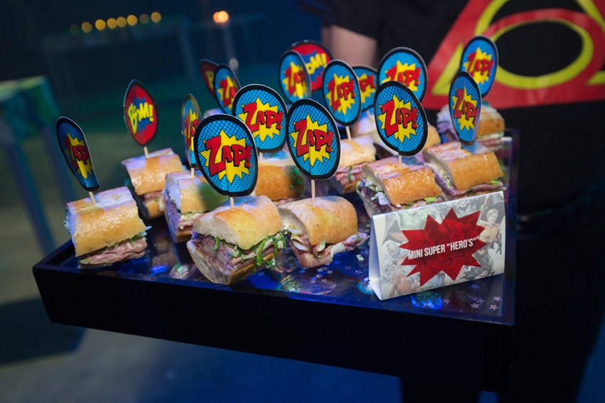 Mini passed subs were one of the many foods being passed along to give the guest enough power and energy to party all night long!