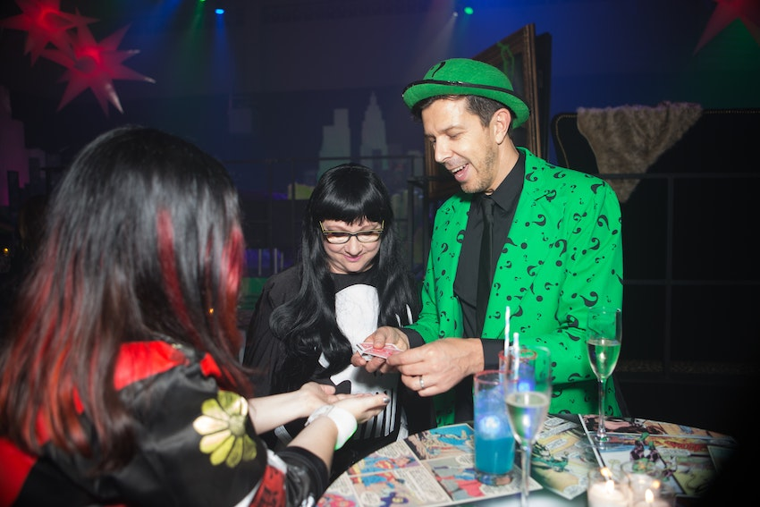 Nigel Mead is famously known for his mind reading and magic abilities. To match his fascinating talents he was dressed as The Riddler while walking around tricking guests at the PEAK6 corporate anniversary party.