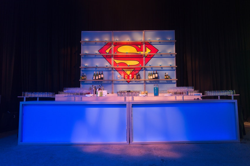This superman designed bar was one of three specially designed bars that were about the venue space at this corporate anniversary party.