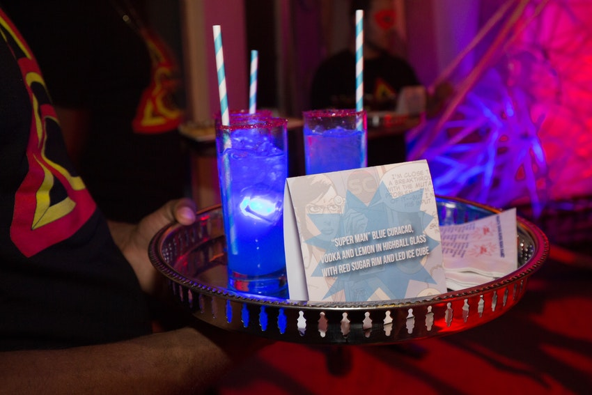 Superman cocktails were handed to guests as they first entered the party, giving them enough energy as Superman to party on for the whole night.