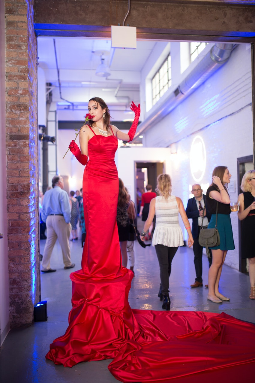 A living red carpet greeted guest as they entered for this corporate website launch party.