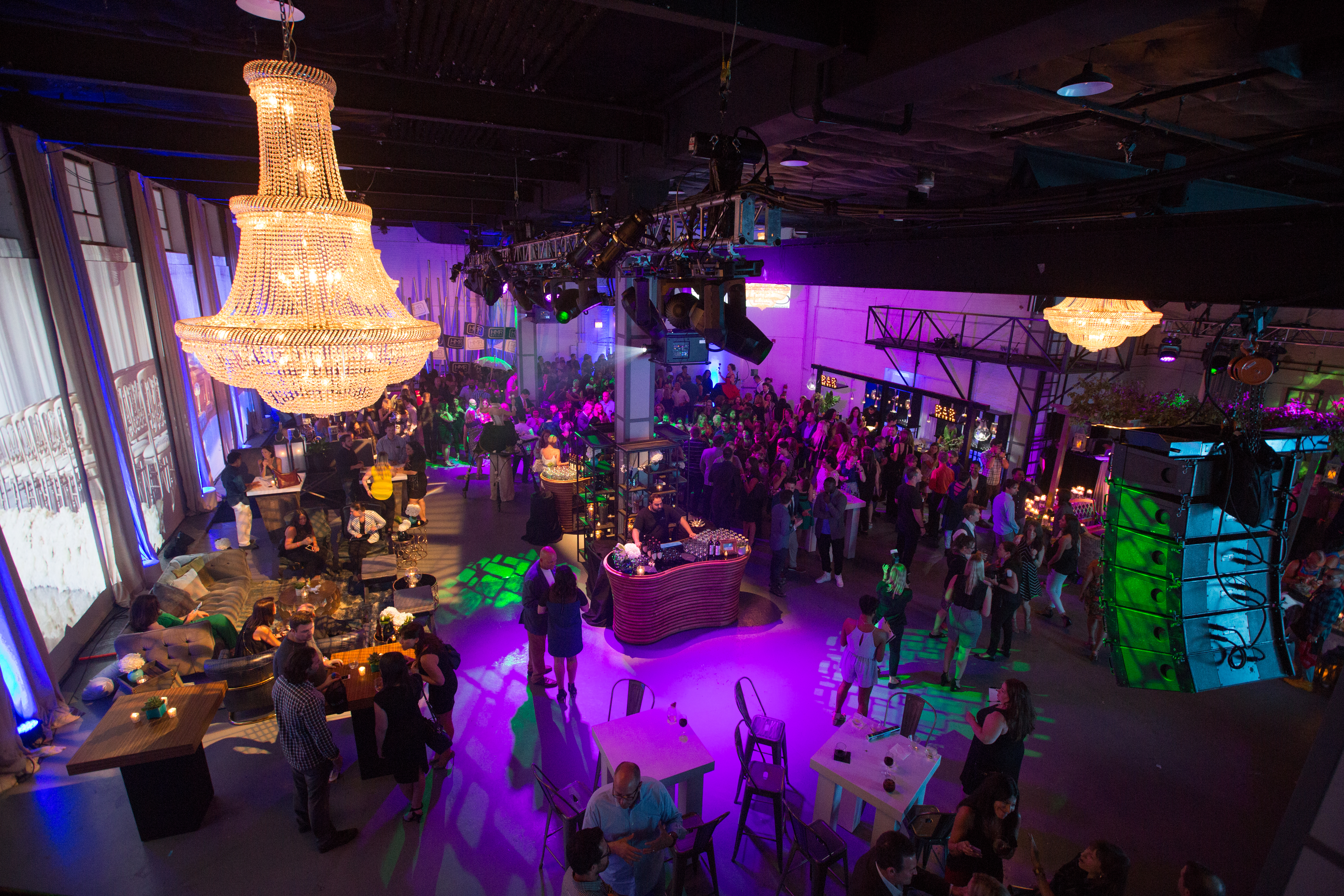 A shot taken from above this website launch party captures the flow of the event throughout the night.