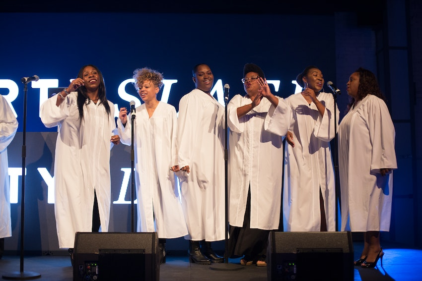 A gospel choir came to entertain guest with their beautifully talented singing to start the website launch party.