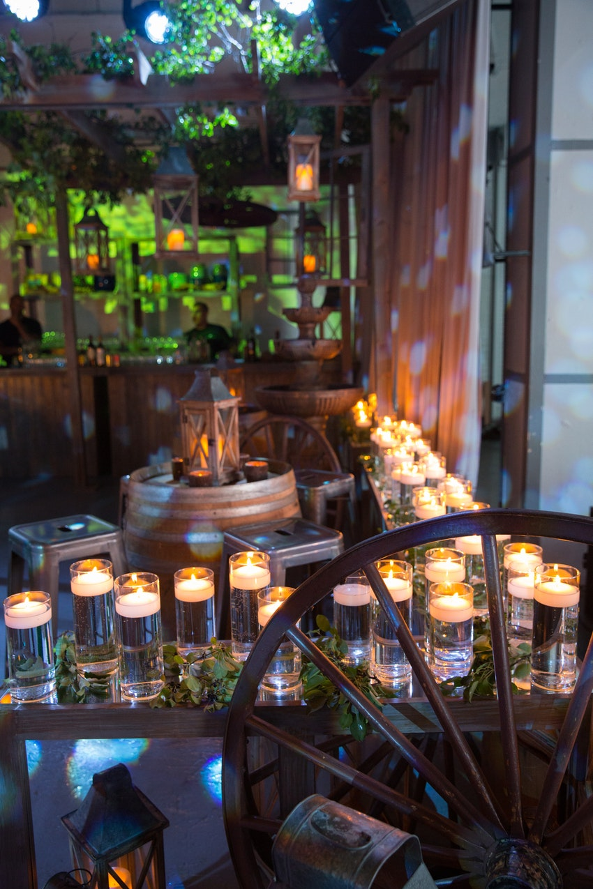 Candles lit up the seating area in the main room to give a soothing relaxed feel to this website launch party.